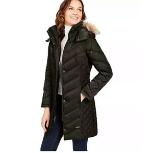 Kenneth Cole Brown Hooded Down Puffer Coat SM
